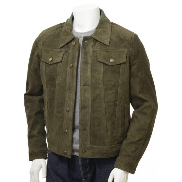 Men's Olive Suede Trucker Jeans Leather Jacket