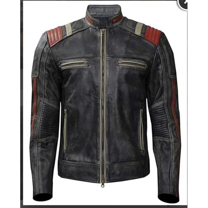 Mens Retro Cafe Racer Vintage Distressed Motorcycle Leather Jacket