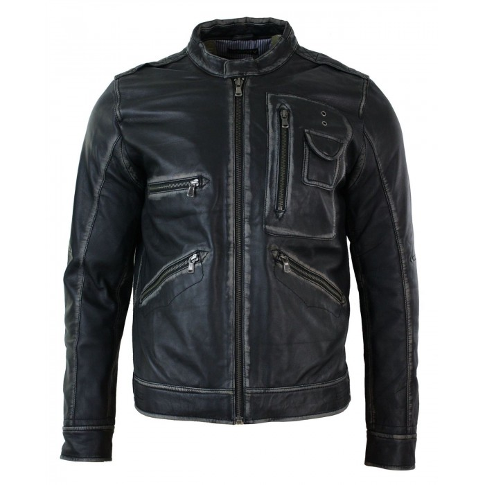 Slim Fit Retro Vintage Washed Casual Biker Leather Jacket