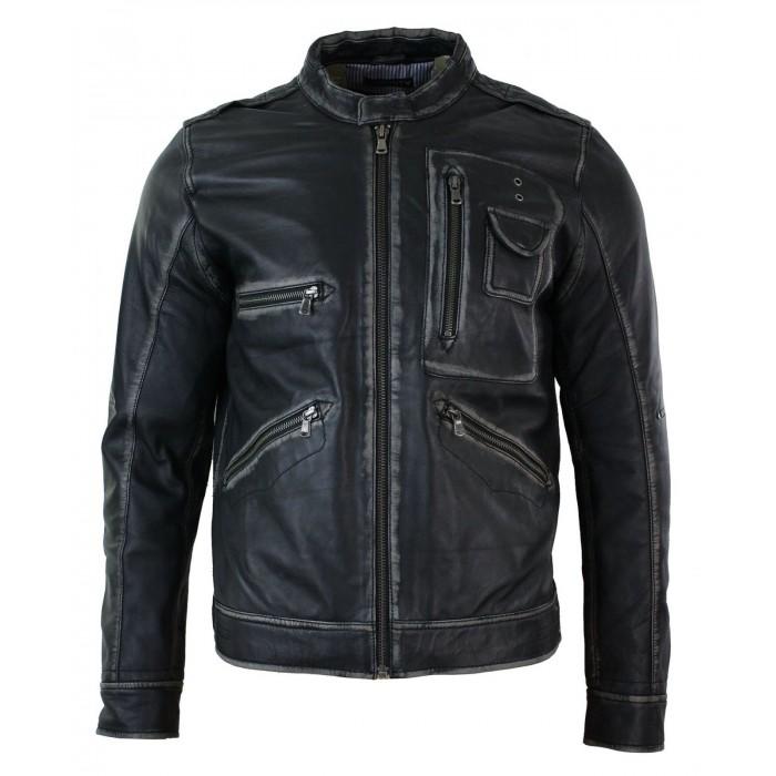Slim Fit Retro Vintage Washed Casual Biker Leather Jacket