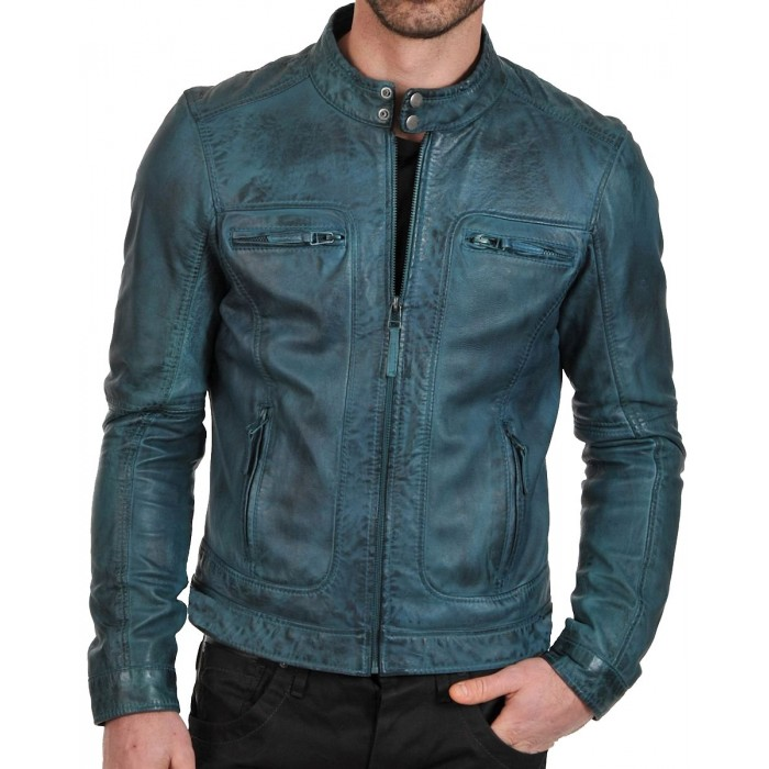 Men's Teal European Style Waxed Leather Fashion Jacket