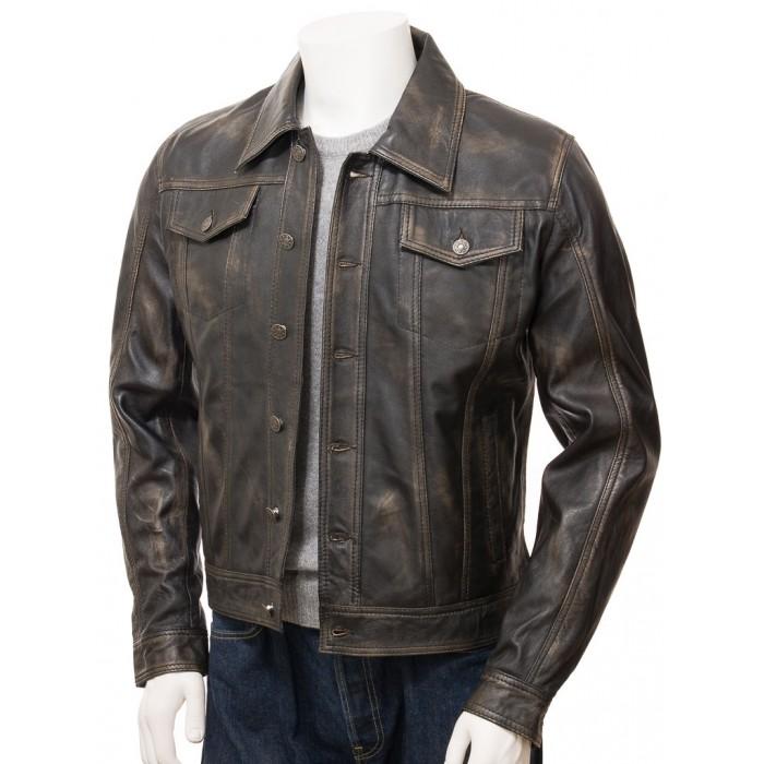 Men's Denim Jeans Style Trucker Vintage Leather Jacket