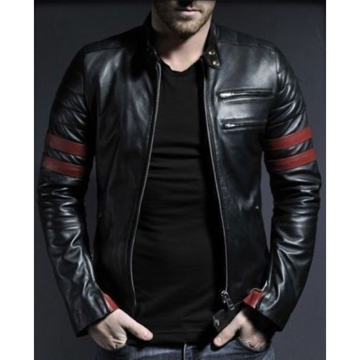 Waxed Sheepskin Fashion Biker Leather Jacket