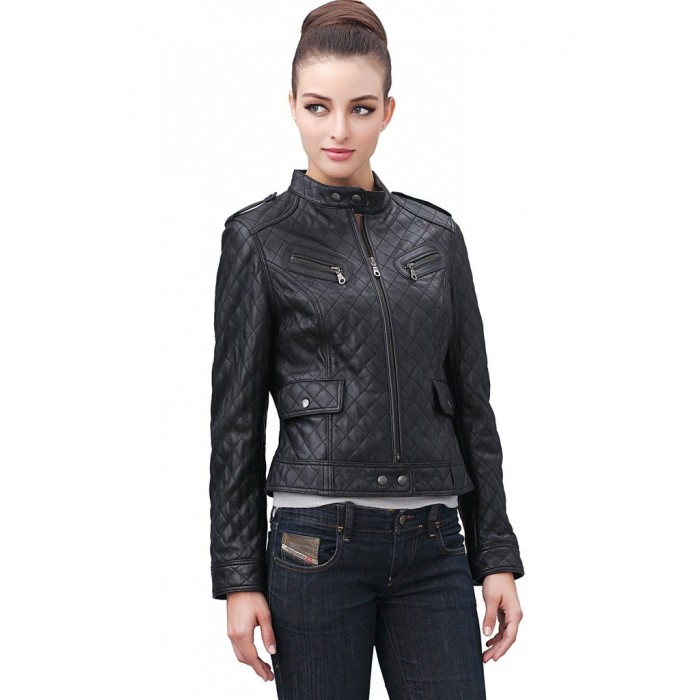 Women's 3D Quilted Lambskin Leather Moto Biker Leather Jacket