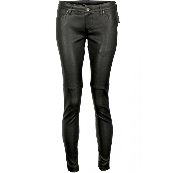 Women Black Leather Slim Fitting Low Rise Prime Washed Waxed Sheepskin Pant