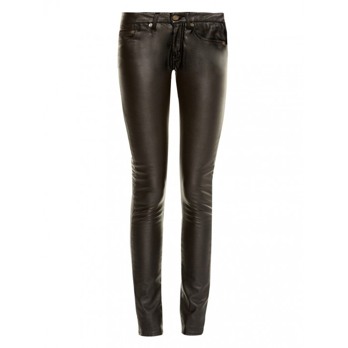Women low Rise 5 pocket Jeans Style Sheep Leather Pant
