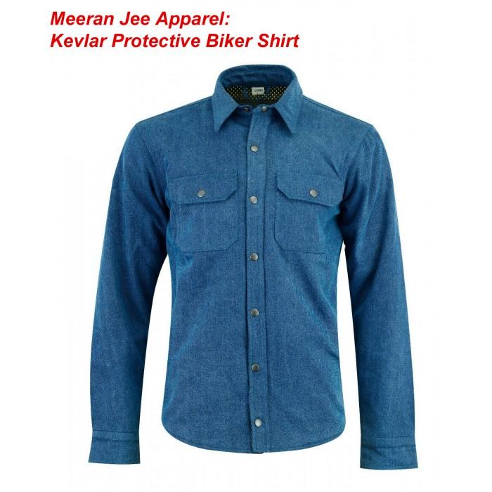 Men's Motorcycle Blue Denim Kevlar Lined Protective Biker Shirt