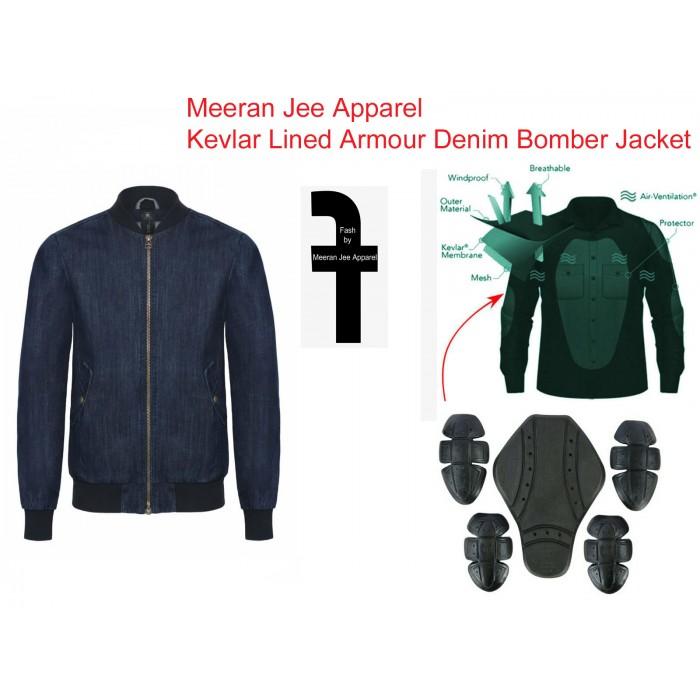 Men's Blue Denim Kevlar Lined Armour Bomber Jacket