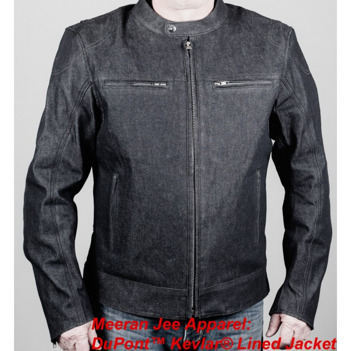 Men's Black Denim Motorcycle Kevlar Lined Scooter Jacket with Body Armour