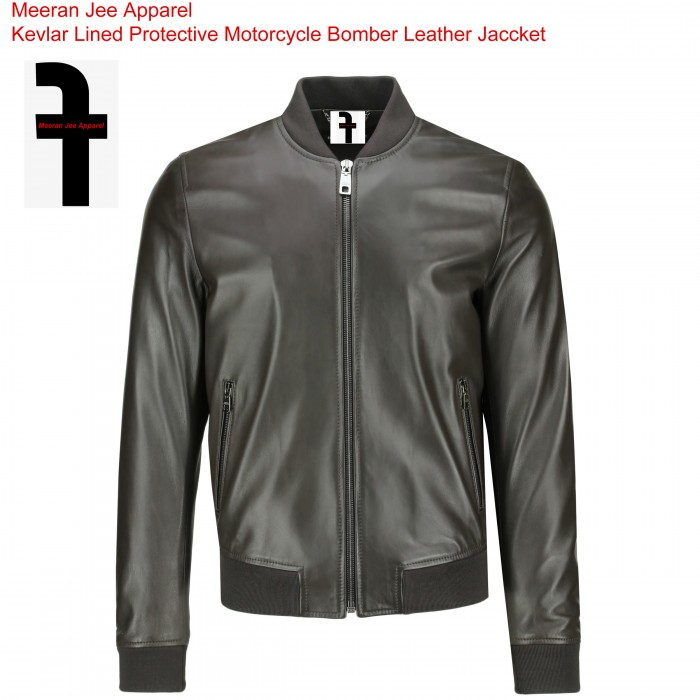 Men's Kevlar Lined Motorcycle Protective Bomber Leather Jacket