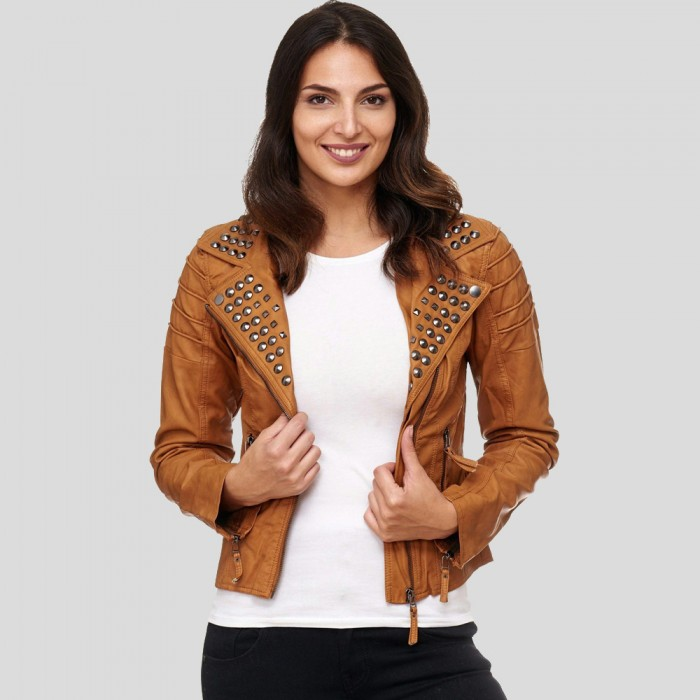Women Brown Studded Leather Jacket