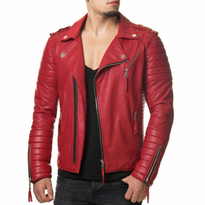 Men's Diamond Quilted Kay Michael Red Lambskin Slim Fit Leather Jacket