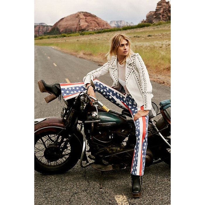 Women Dome Studded Leather Moto Jacket