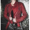 Women Domes Spiked Full Studded Red Moto Leather Jacket