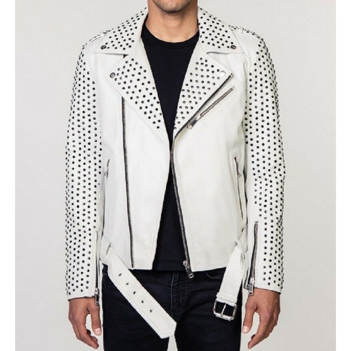 Men's White Full Silver Studded Biker Leather Jacket
