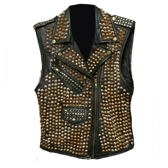 Women's Full Studded Brando Rock Punk Biker Leather Vest