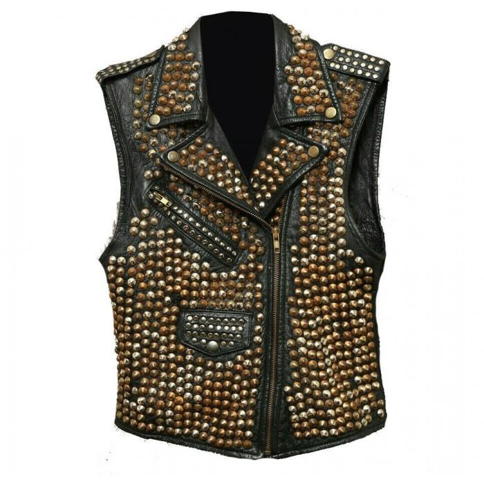 Women's Full Studded Brando Rock Punk Biker Leather Vest