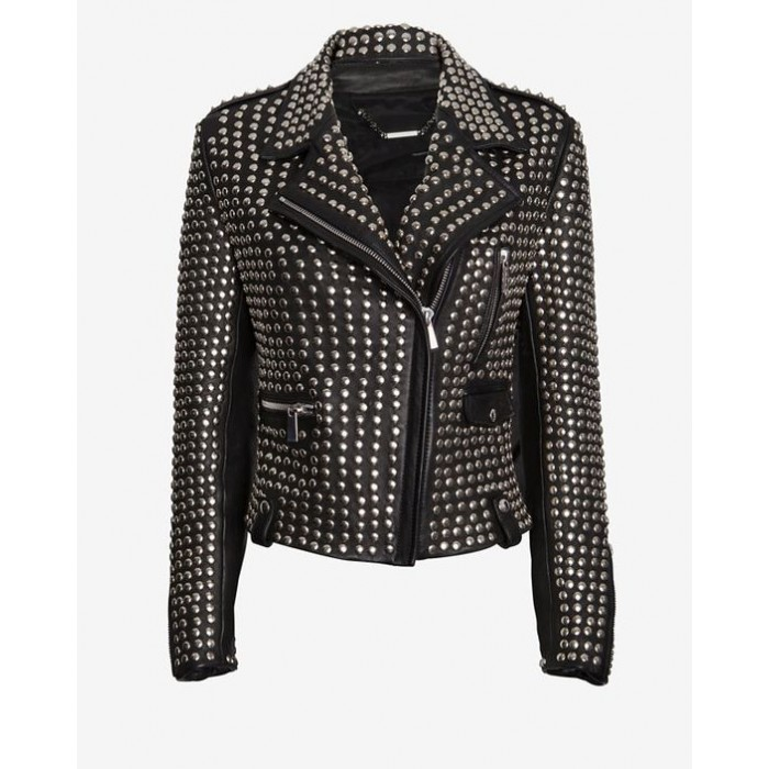 Luxury Designer Full Studded Women Biker Leather Jacket