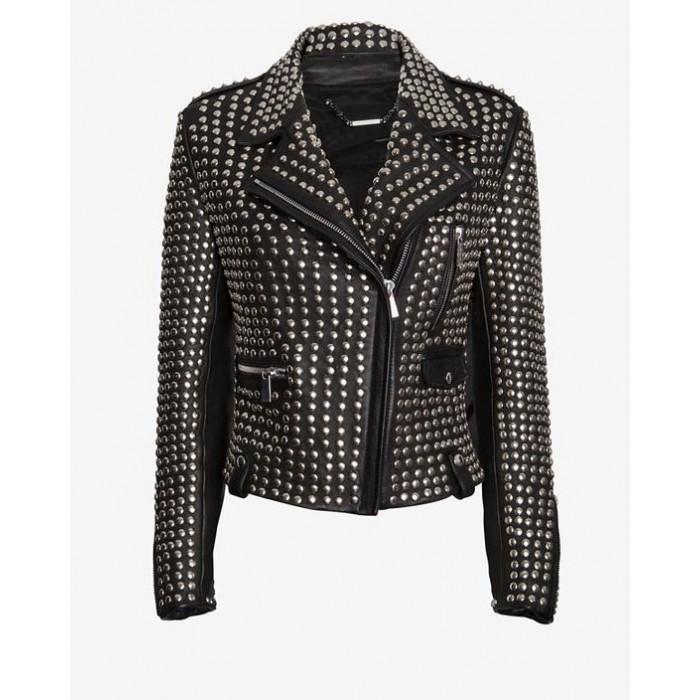 Luxury Designer Full Studded Women Biker Leather Jacket
