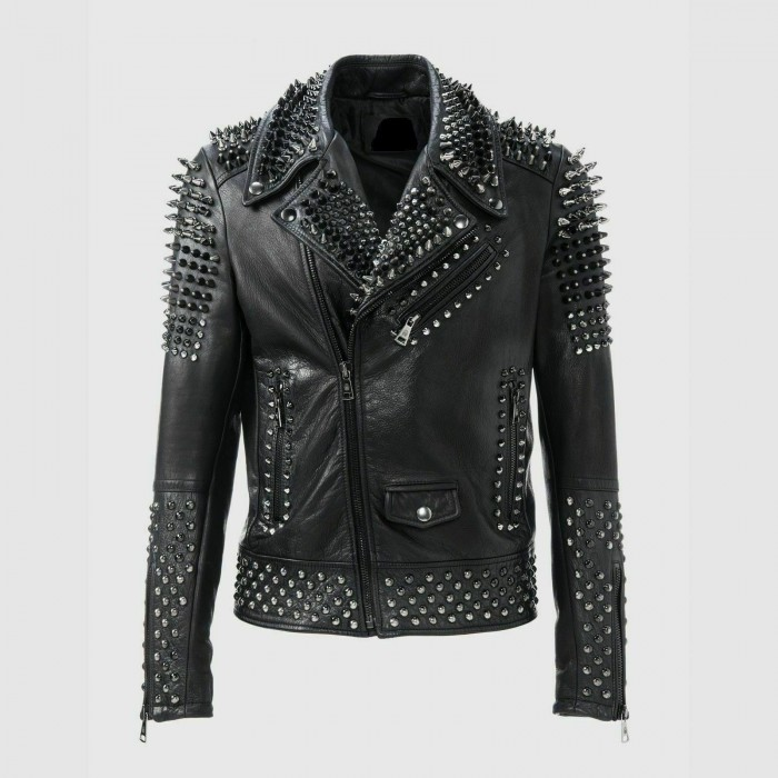 Men's Heavy Metal Punk Silver Spike Full Studded Leather Jacket