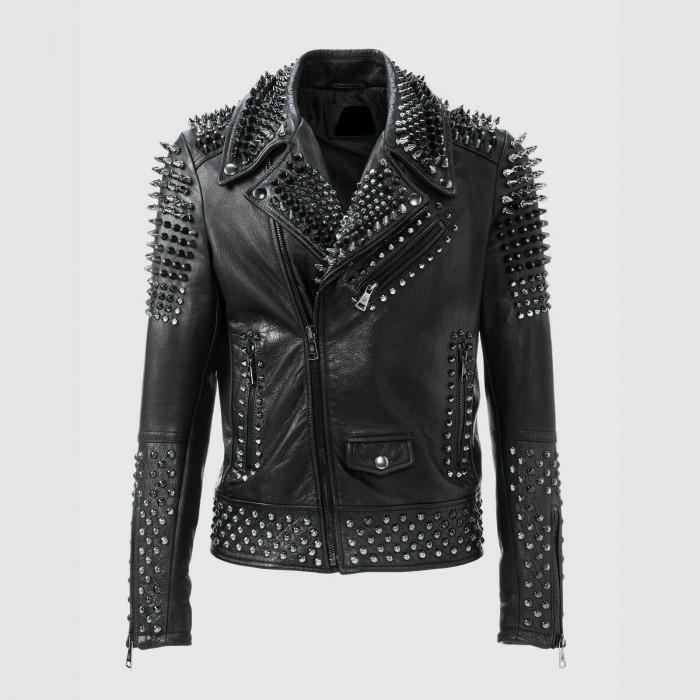 Men's Heavy Metal Punk Silver Spike Full Studded Leather Jacket