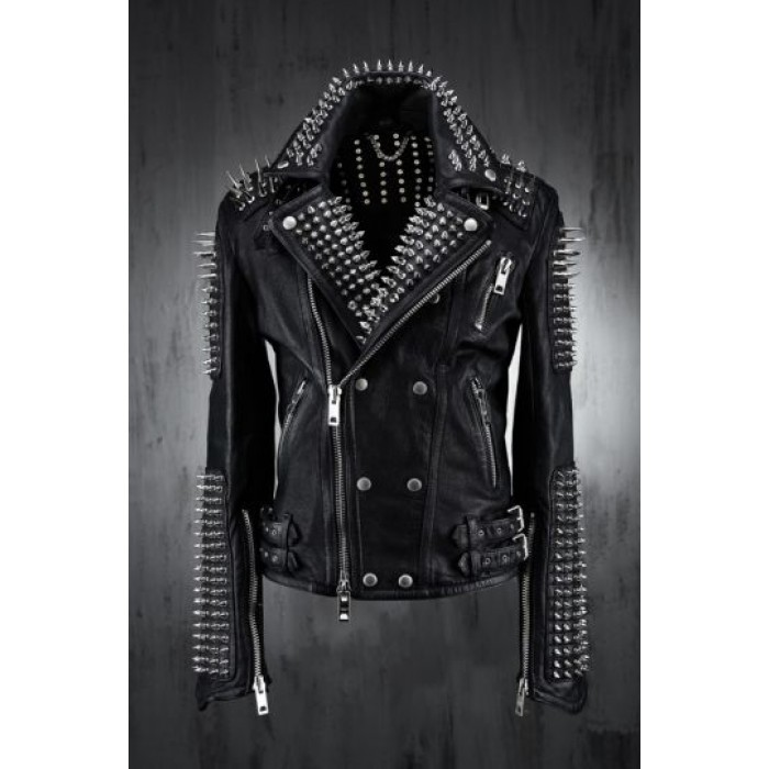 Women Luxury Designer Handmade Long Spikes Studded Biker Jacket