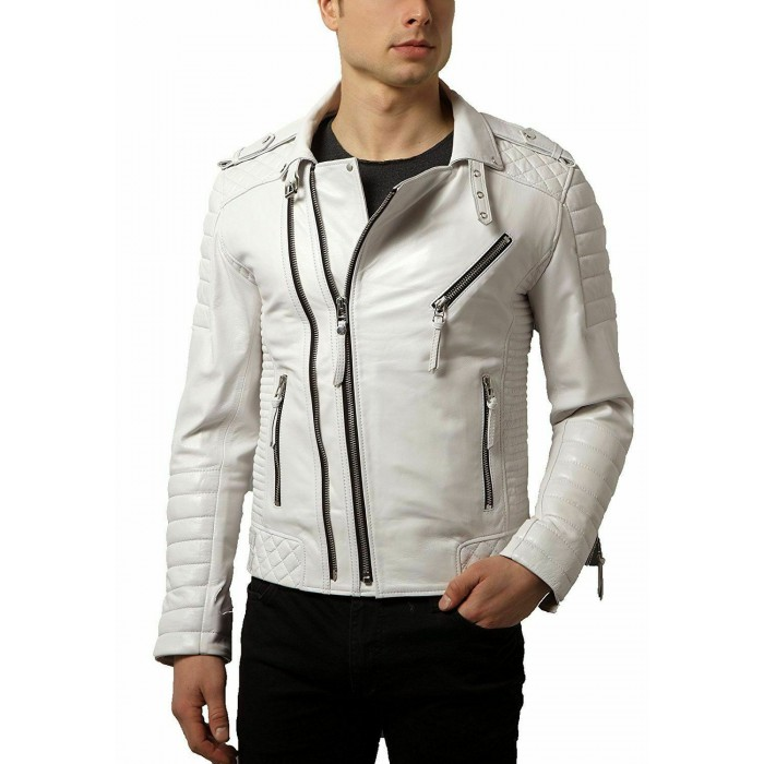 Men's Diamond Quilted Kay Michael White Lambskin Slim Fit Leather Jacket