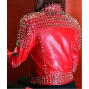 Women's Motorcycle Red Lambskin Studded Spiked Moto Jacket