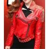 Women's Motorcycle Red Lambskin Studded Spiked Moto Jacket