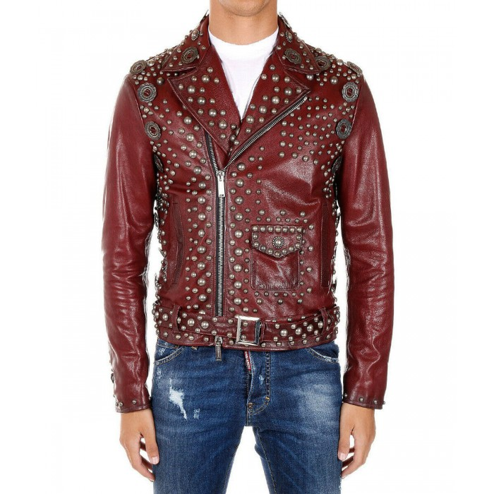 Men's Burgundy Silver Studded Heavy Metal Punk Biker Leather Jacket