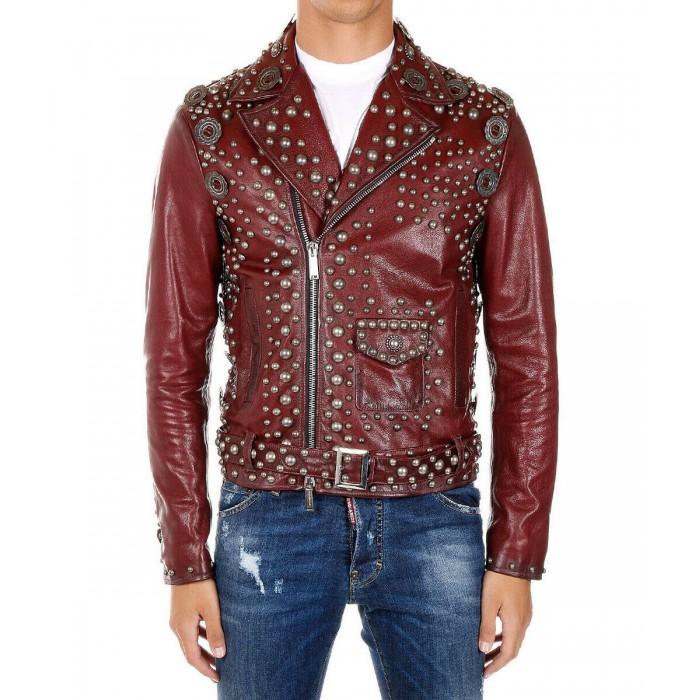 Men's Burgundy Silver Studded Heavy Metal Punk Biker Leather Jacket