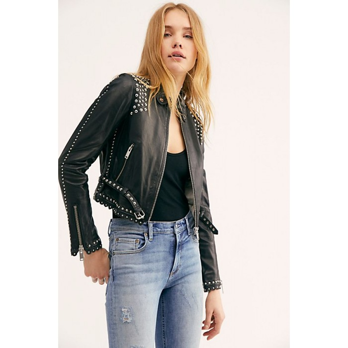 Women Studded Black Leather Jacket