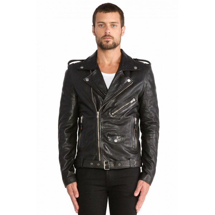 Men's Washed Lambskin Classic Motorcycle Biker Leather Jacket