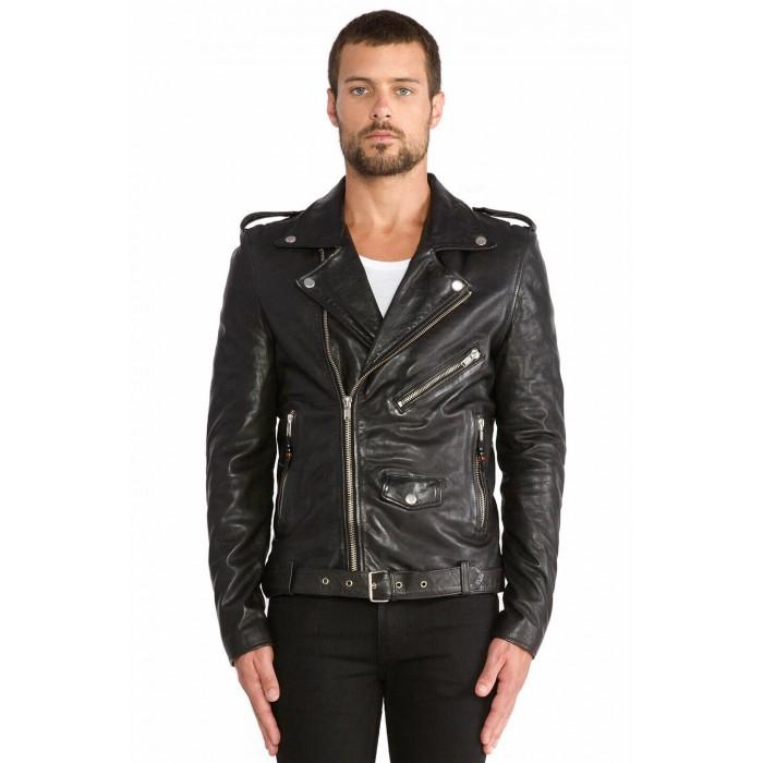 Men's Washed Lambskin Classic Motorcycle Biker Leather Jacket