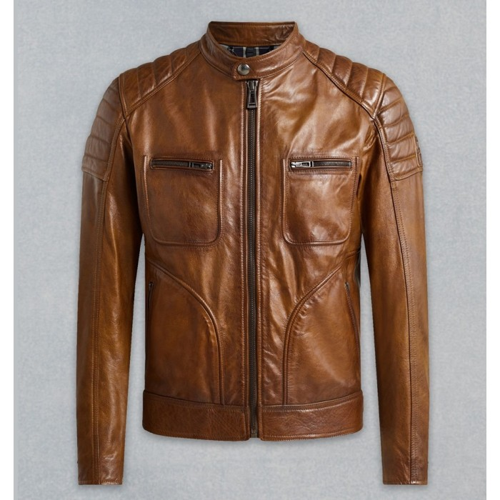 Men's Waxed Tan Sheepskin Racer Leather Jacket