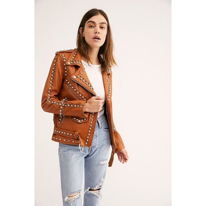 Women Western Dome Studded Easy Rider Jacket