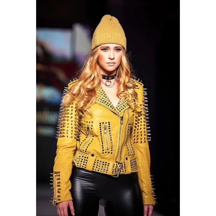 Women Luxury Designer Yellow Studded Spiked Lambskin Moto Jacket