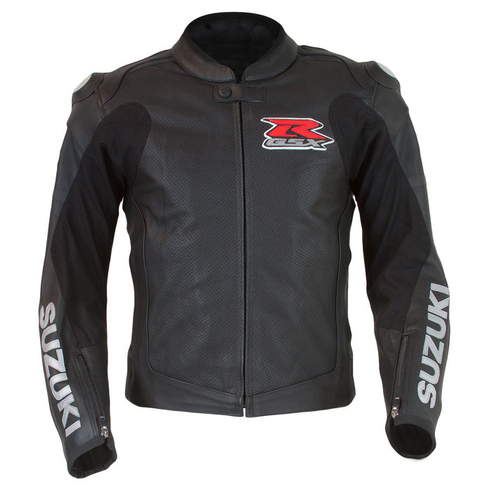SUZUKI GSX-R Men's Custom Motorbike Racing Motorcycle Black Leather Jacket
