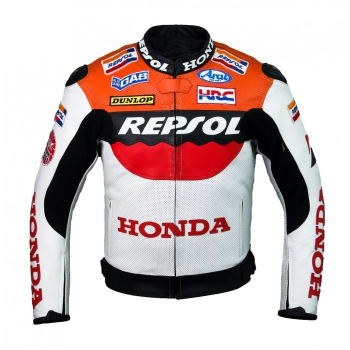 Honda Repsol Team Motorbike Racer Custom Leather Jacket With Hump