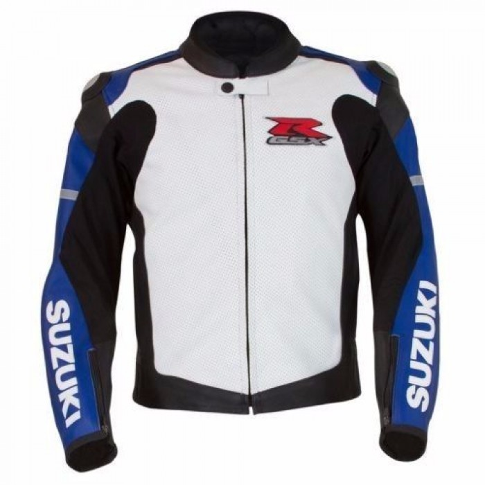 Suzuki GSXR Custom Motorcycle Racing Leather Jacket CE Armor