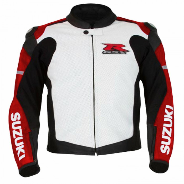 Men's Suzuki GSXR Red Motorcycle Racing Leather Jacket