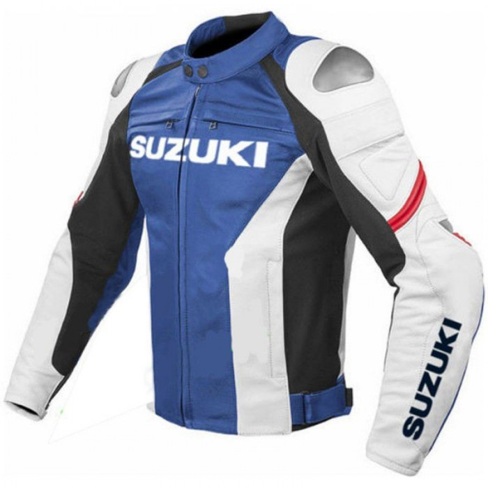 Men's Suzuki GSXR Blue White Leather Motorcycle MotoGP Racing Jacket