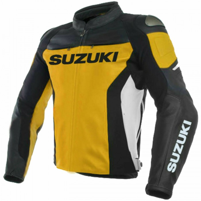 Suzuki GSXR Yellow Leather Motorcycle MotoGP Racing Jacket