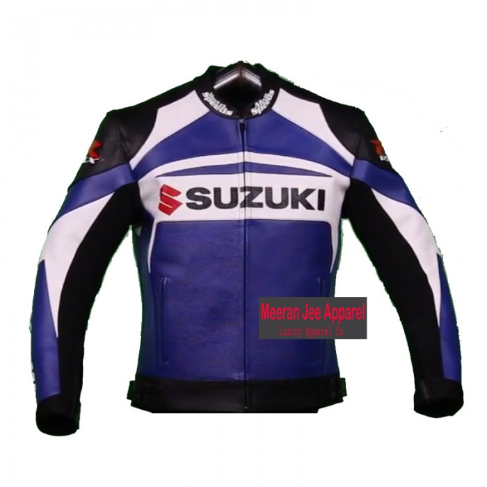 Men's Suzuki GSXR Blue Leather Motorcycle Racing Jacket