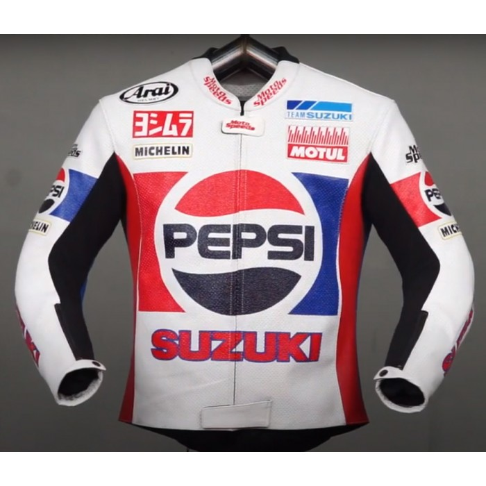Men's Kevin Schwantz Pepsi Suzuki GP 1988 Motorbike Leather Jacket
