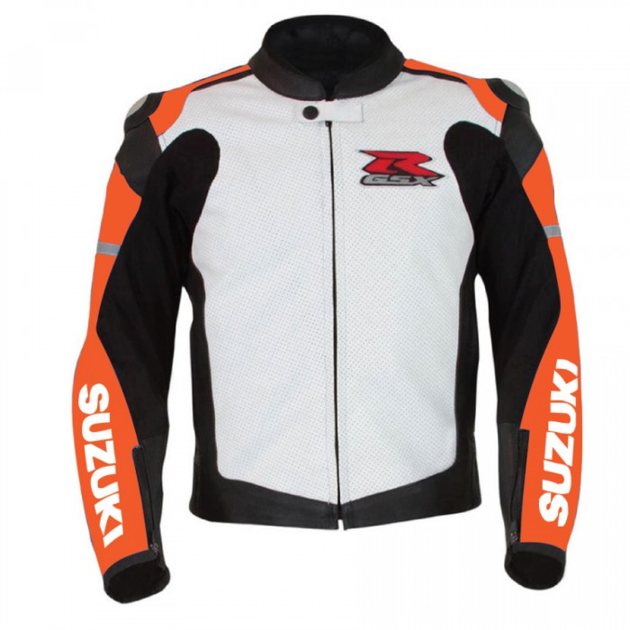 Men's Suzuki GSXR Orange Motorcycle Racing Leather Jacket
