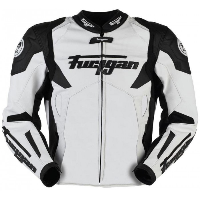 Men's Furygan Spyder 2015 White Black Motorbike Racing Leather Jacket
