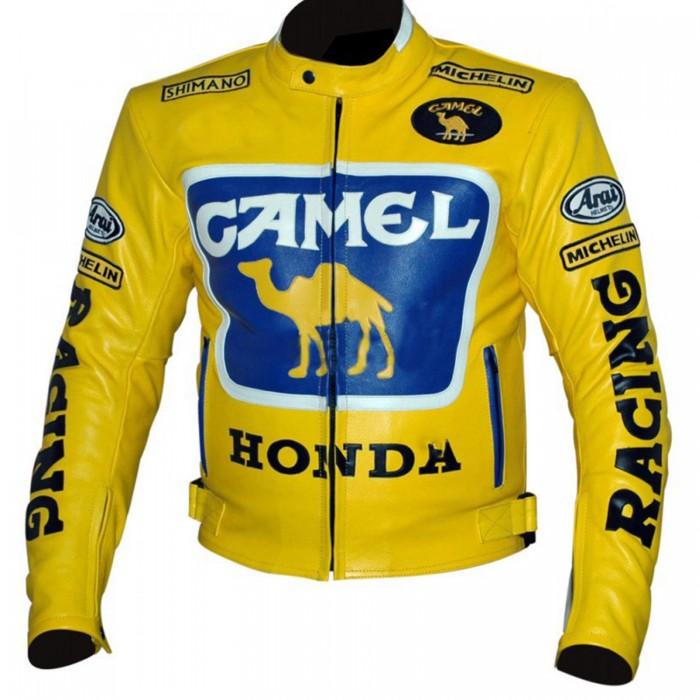 Men's Honda Camel Racing Motorcycle Yellow Leather Jacket