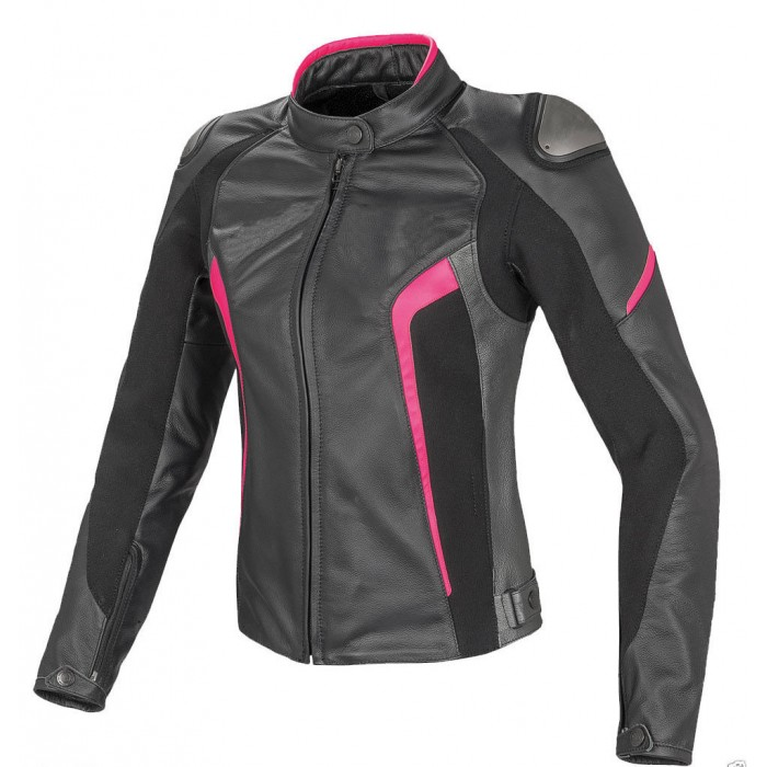 Women Racing Motorcycle Cowhide Motorbike Leather Jacket