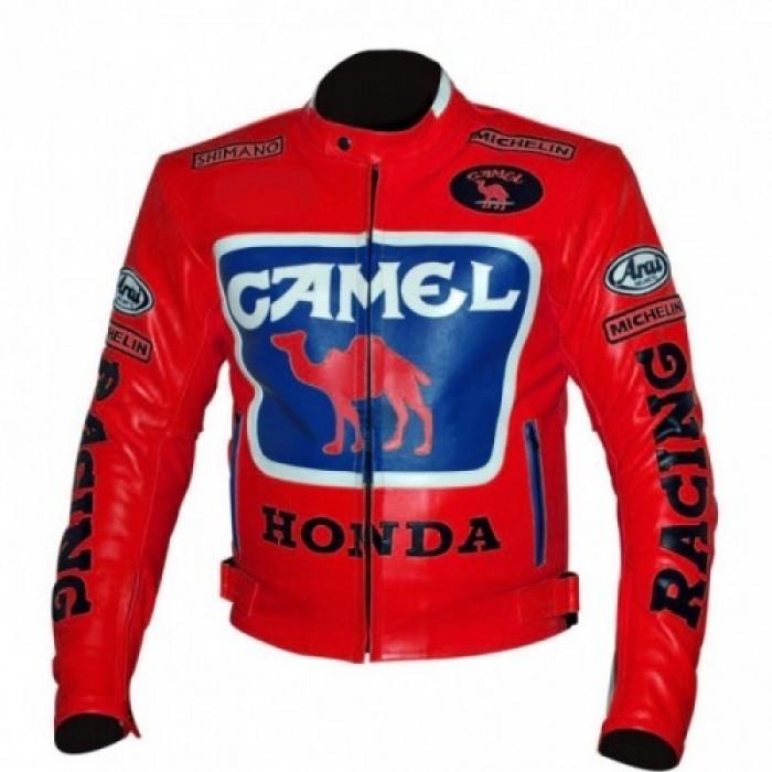 Men's Red Honda Camel Racing Motorcycle Leather Jacket